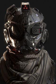 Scifi Helmet by Mosmoss StudioConcept done by Francis Tneh Futuristic Helmet, Futuristic Armour, Futuristic Outfits, Futuristic Design, Robot Concept Art, Armor Concept, Cyberpunk Fashion, Cyberpunk Art, Armadura Sci Fi