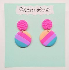 Earrings are round, bright, summer, colored. Made of polymer clay, accessories - metal studs.Suitable for summer image. Polymer Clay Ornaments, Polymer Clay Canes, Polymer Clay Flowers, Polymer Clay Projects, Polymer Clay Creations, Handmade Polymer Clay, Polymer Clay Jewelry, Crea Fimo, Diy Clay Earrings