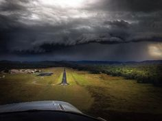 Final approach ahead of a directly oncoming severe thunderstorm. No margin for error here:)