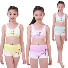 0f988ef68 Children Underwear Set Kids Puberty Young girl student Bras 100% cotton  underwear set with bra and boxers 7 to 15 years