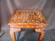 Bone Inlaid Foot Stool Wood Vintage by SanMonet on Etsy, $85.00
