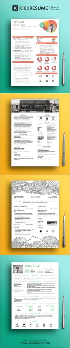 Beautiful infographic resume templates by www.kickresume.com Create same resume in 15 minutes na get your dream job!  (resume sample, resume example, resume template, creative resume, design resume)