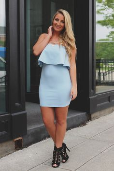 Falling For You Dress - Olive Strapless Dress, Bodycon Dress, Trendy Clothes For Women, Mixing Prints, Cute Dresses, Mini Dresses, Blue Fashion, Dress Making, Passion For Fashion