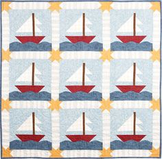Sailing Sailing Quilt Pattern - Cute Little Boy's Quilt - PDF ... : sailing quilt - Adamdwight.com