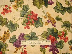 fabrics with grapes and wines theme Vine Fruit, Kitchen Fabric, Novelty Fabric, Wine Country, Grape Vines, Wines, Vip, Vineyard, Vintage World Maps