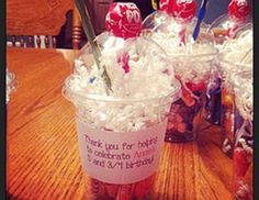 "Easiest school birthday treat ever! Fill the cup with candy, add the gift shred for ""whipped cream"", punch a hole in the lid for the pencil ""straw"" and add the..."