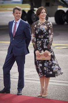 Crown Princess Mary and Crown Prince Frederik of Denmark wait at Copenhagen airport to welcome Crown Prince Naruhito, who started a five-day visit to Denmark to celebrate 150 years of diplomatic ties between the two countries June 2017