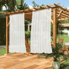 Outdoor Waterproof Tab Top Curtains Sheer, 1 Panel | snowcity Outdoor Curtains For Patio, Outdoor Rooms, Outdoor Living, Buy Curtains Online, Tab Top Curtains, Patio Shade, Sheer Drapes, French Country Cottage, Custom Curtains