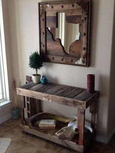 recycled wooden pallet foyer table for a rustic look