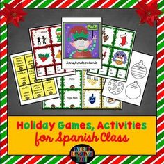 Spanish Holiday Lesson Plans: Hannukah, Christmas, New Year's.  Games, writing and speaking activities, vocabulary flashcards, etc.  Everything you need to teach about these holidays.