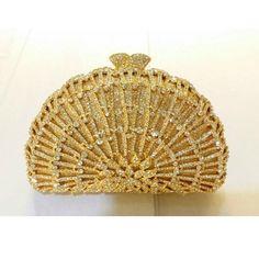 69.00$  Watch now - http://ali5em.worldwells.pw/go.php?t=32665904215 - 8323 Crystal Lady fashion Wedding Bridal Party Night Golden hollow Metal Evening purse clutch bag case box handbag