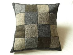 Tweed Patchwork Cushion/ Pillow Cover