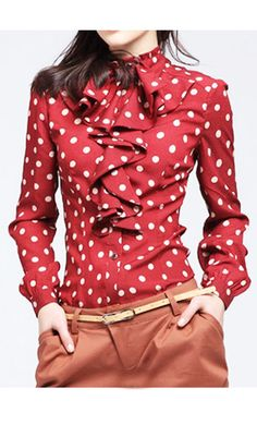 Yvonne polka dot long sleeve blouse with vintage high neck and ruffled center in red at Apostolic Clothing #modestclothing