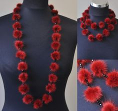 Luxorious delicate red mink fur necklace