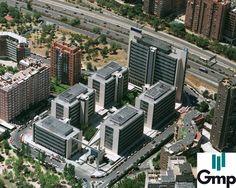 Parque empresarial formado por 6 edificios con una zona central que actúa como corazón del complejo #madrid #oficinas #alquilerdeoficinas #grupogmp #arquitectura #business #edificio