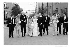 wedding party, black and white, just married, laughter, Mint Museum Wedding, Charlotte NC Wedding Photographer, Kristin Vining Photography