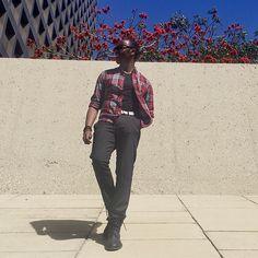 """Adiaphorous""    Plaid Washed Shirt - @Jcrew V-Neck T-Shirt - @UniqloUSA Leather Belt - @Gap The Bowery Slim In Wool - @Jcrew Pin Boot - @AllSaintsLive Bracelets - @OurSaints Time Piece - @Diesel"