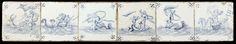 Anonymous | Veld van zes tegeles met zeewezens, Anonymous, c. 1650 - c. 1700 | Veld van zes tegels (1 x 6) elk met een blauw en paars geschilderd zeewezen met in de hoeken een spinnetje.