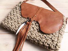 Boho clutch/handbag brown leather,native crossbodybag crochet,shoulderbag fringle,tooth,eco yarn.