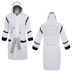 Star Wars Stormtrooper Hooded Robe You can be a Stormtrooper even when you're relaxing when you wear this Star Wars robe that mimics these cinematic soldiers' uniforms. The Star Wars Stormtrooper Hooded Robe is white with the black and gray patterns of the Stormtrooper's armor. This Stormtrooper robe is made of cotton terry cloth with satin panels for ultimate comfort!  OFFICIALLY LICENSED PRODUCT.  GRAB YOURS NOW!  ORDER 2 OR MORE TO SAVE ON SHIPPING COST.  | Shop this product here…