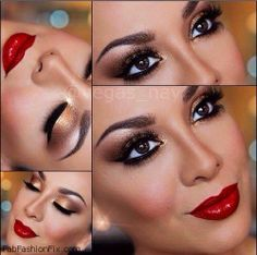 Glamorous golden smokey eyes and red lips inspiration