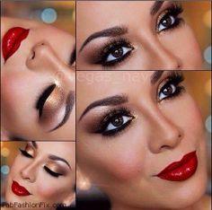 Glamorous golden smokey eyes and red lips inspiration