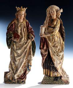 Paar Hochrelief-Figuren WEIBLICHE HEILIGE und HEILIGE MARIA MAGDALENA Höhe: 39,5 bzw. 40 cm. Den beiden Figuren ist ein ausführliches Gutachten von Dr....