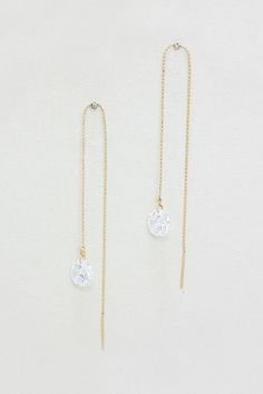 The sweetest, simplest earrings I've seen in a long time - Crystal Rain Threader Earrings in Gold #clicktoget #giftsforher
