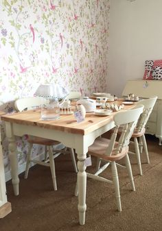 Upcycled pine farmhouse table and four farmhouse chairs in autentico Antique White