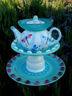 Garden Art, Bird Feeder, Repurposed, Garden Totem, Garden Decor, Garden Sculpture, Yard Art, Dragonflies, Teapot Art – DRAGONFLY LAGOON on Etsy, $50.00