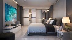 UHZ65UST CinemaX 4K UHD ultra short throw laser projector - Optoma Europe Modern Luxury Bedroom, Contemporary Bedroom Decor, Modern Master Bedroom, Modern Bedroom Design, Home Room Design, Dream Home Design, Luxurious Bedrooms, Home Bedroom, Master Bedrooms