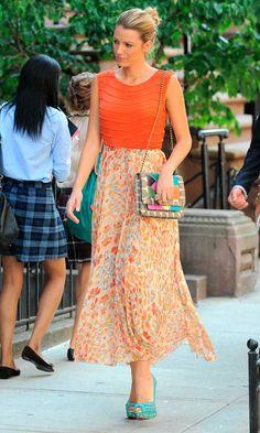 Blake Lively On Set Filming Gossip Girl In New York, July 2012