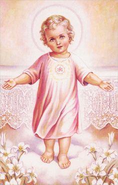 Sacred Heart of Jesus Catholic Art, Religious Art, Roman Catholic, Catholic Children, Catholic Crucifix, Baby Jesus Pictures, Image Jesus, Infant Of Prague, Vintage Holy Cards