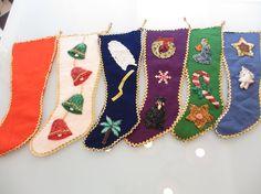 Vintage Felt Sequined Christmas Stockings set of 6