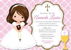 First Communion Invitation Girl Pink Gold ANY by PrettyPaperPixels