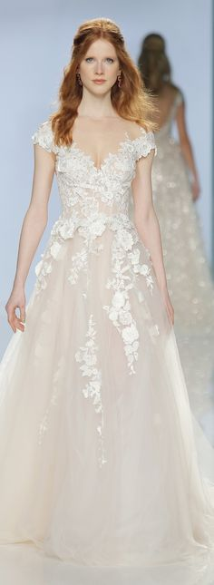 The Gala 902. Impressive ball gown dress with a rosé sheer tulle skirt with handmade flower appliques and off the shoulder sleeves. #wedding #dress #bride