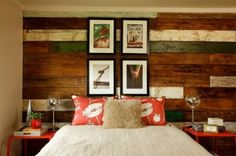 Gorgeous beach style bedroom with a unique reclaimed wood accent wall [Design: Garrison Hullinger Interior Design] Contemporary Bedroom, Modern Bedroom, Cozy Bedroom, Master Bedroom, Trendy Bedroom, Reclaimed Wood Accent Wall, Salvaged Wood, Recycled Wood, Reclaimed Timber