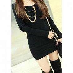 Slim Fit Simple Design Solid Color Long Sleeved Women's T-Shirt, BLACK, ONE SIZE in Long Sleeves | DressLily.com