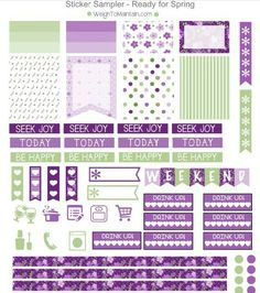 Purple and Mint Planner Stickers