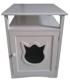 New-White-Cat-Pet-Washroom-Litter-Box-House-Bed-Nightstand-Table-Hidden