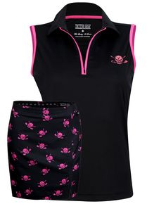 1b509b558dd1f6 Sleeveless Women s Golf Shirt   Golf Skort (White Black)