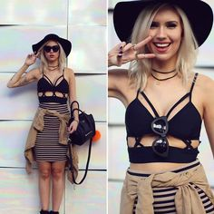 Ketherin Kaffka - Nasty Gal Top, Zerouv Sunglasses, Forever 21 Skirt, Asos Hat, Celine Bag - Style stripes and cutouts