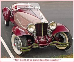 1931 Cord Speedster Maintenance of old vehicles: the material for new cogs/casters/gears could be cast polyamide which I (Cast polyamide) can produce Auto Retro, Retro Cars, Vintage Cars, Antique Cars, Cadillac, Cord Automobile, Classy Cars, Old Classic Cars, Classic Trucks