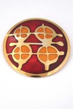 de Passillé-Sylvestre, Canada - modernist 'abstract oranges' large enamel brooch