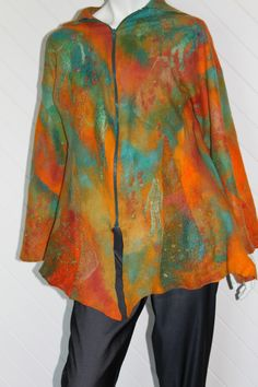 Uluru Dreaming Jacket (nuno felt, superfine merino and silk on cotton gauze)