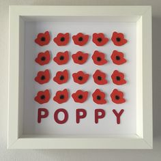 "Frame dimensions - 9""x9"" (23cmx23cm)Colours - * Red and Black - CL3, CL11, CL10Delicate hand crafted poppy framed art. Every poppy is created from multiple layers of paper to create a beautiful 3D effect.Choose this classic colour scheme or something in your own choice of colours for the same price. Add name or details personalisation for no extra cost. Popular details personalisation includes names, dates of birth, birth time, birth weight and birth locati..."