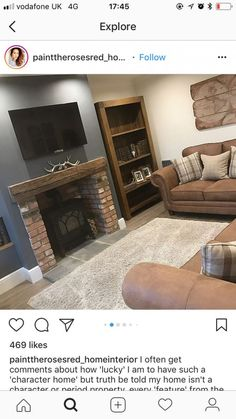 New Pic Brick Fireplace log burner Ideas Front room Cottage Living Rooms, Living Room Grey, Home Living Room, Living Room Designs, Living Room Decor, Style At Home, Log Burner Living Room, Front Rooms, Living Room Inspiration
