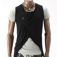 Mens Stylish Sleeveless Cardigan (DT12-BLACK) (As much as I love this, it wouldnt look right on my pleasantly plump tummy!