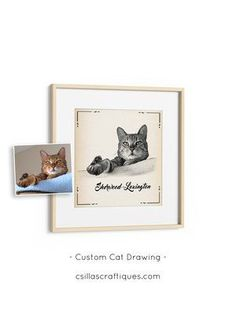 Custom cat lover gift idea, black and white cat sketch on vintage paper texture. Perfect birthday gift idea for a cat owner >> Click through to see more designs and details! Gifts For Dog Owners, Gifts For Pet Lovers, Cat Gifts, Cat Lovers, Custom Dog Portraits, Pet Portraits, Custom Dog Beds, Cat Themed Gifts, Pet Memorial Gifts