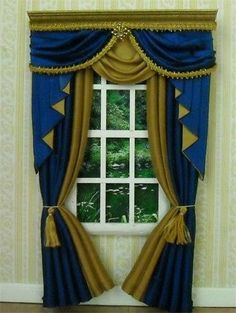 Dollhouse Miniature Royal Blue  Gold Curtains Drapes 5018